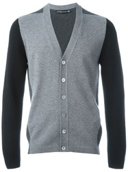 Alexander Mcqueen Colour Block Cardigan Grey