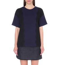 Izzue Lace Embroidered Cotton Jersey T Shirt Navy