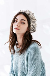 Urban Outfitters Braided Cable Beret Ivory