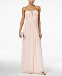 Trixxi Juniors' Strapless Embellished Gown Blush