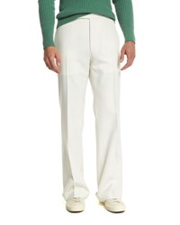 Tom Ford Solid Flat Front Wool Trousers Ivory