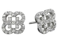 Cole Haan Graphic Logo Cut Out Pave Stud Earrings Silver Crystal Earring