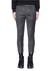 Neil Barrett Camouflage Pinstripe Zip Cuff Cropped Pants Black