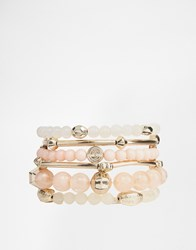 Oasis Mixed Stretch Beaded Bracelet Set Pink