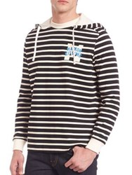 Maison Kitsun Marin Striped Hoodie Black Multi