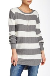 Poof Rugby Stripe Side Zip Sweater