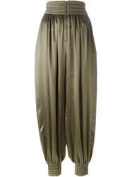 Fendi High Waisted Harem Trousers Green