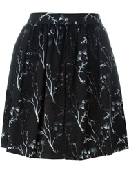 Thakoon Addition Printed Lace Detail Mini Skirt Black