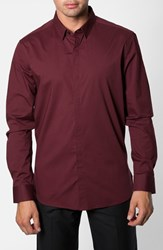 7 Diamonds Men's 'Peace Train' Trim Fit Woven Shirt Maroon