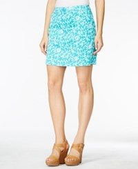 Karen Scott Petite Vine Print Skort Only At Macy's Crisp Teal