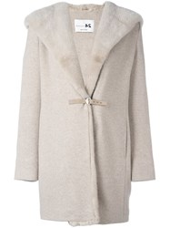 Manzoni 24 Mink Fur Collar Hooded Coat Nude And Neutrals