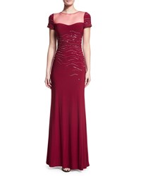 Mignon Embellished Short Sleeve Gown Claret
