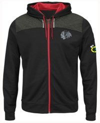 Majestic Chicago Blackhawks Nhl Men's Hashmarks Full Zip Hooded Jacket
