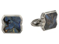 Stephen Webster Tobacco Leaf Stone Inlay Cufflinks Sterling Silver Pietersite Cuff Links Blue