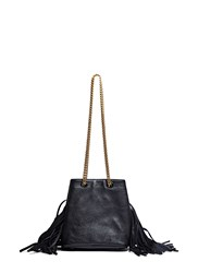 Saint Laurent Emmanuelle Mini Fringed Bucket Bag Black
