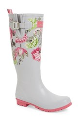 Women's Joules 'Welly' Print Rain Boot Silver Posy