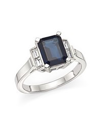 Bloomingdale's Sapphire And Baguette Diamond Ring In 14K White Gold Blue White