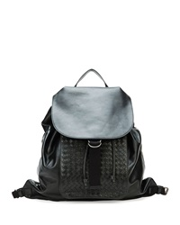 Men's Woven Leather Backpack Black Bottega Veneta