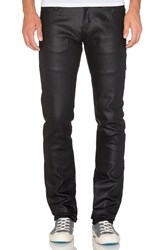 Naked And Famous Skinny Guy Wax Coated Black Stretch 11 Oz.