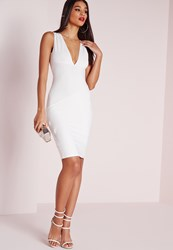 Missguided Plunge Bandage Bodycon Dress White White