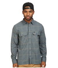 Brixton Archie Long Sleeve Flannel Green Grey Men's Long Sleeve Button Up