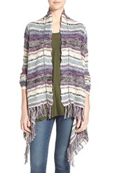 Junior Women's Sun And Shadow Stripe Fringe Open Cardigan Purple Nectar