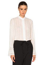 Chloe Chloe Embroidered Cotton Voile Blouse In White