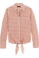 J.Crew Tie Front Gingham Stretch Cotton Shirt Brick