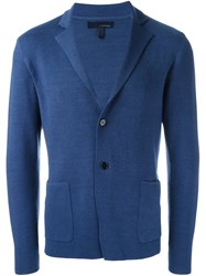 Lardini Woven Single Breasted Blazer Blue