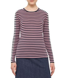 Akris Punto Long Sleeve Bicolor Striped Top Denim Multi