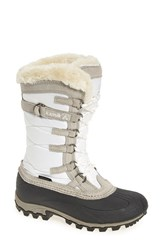 Kamik Women's Snowvalley Waterproof Boot With Faux Fur Cuff White