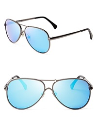 Wildfox Couture Wildfox Airfox Ii Deluxe Mirrored Aviator Sunglasses Gunmetal Blue Mirror