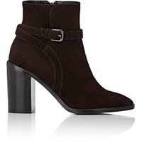 Barneys New York Women's Wraparound Strap Suede Ankle Boots Dark Brown
