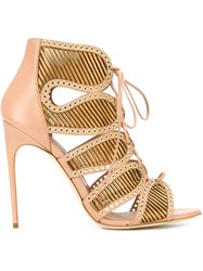 Brian Atwood Eyelets Lace Detailing Sandals Pink And Purple