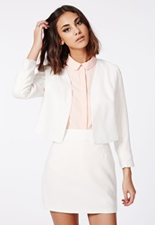 Missguided White Textured Cropped Curve Blazer White