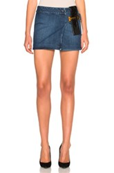 Anthony Vaccarello Leather Strap Combo Mini Skirt In Blue