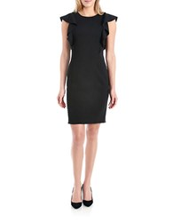 424 Fifth Petite Flutter Sleeved Sheath Dress Black