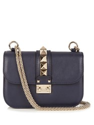 Valentino Lock Small Leather Shoulder Bag Navy