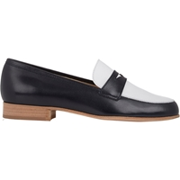 Barneys New York Bi Color Leather Penny Loafers Navy