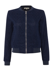 La Fee Maraboutee Long Sleeved Lined Lace Jacket Navy