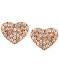 T Tahari Rose Gold Tone Pave Heart Stud Earrings