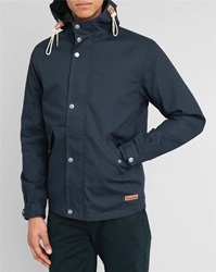 Knowledge Cotton Apparel Blue Removable Lining Parka With Navy Hood And Patch Pockets