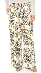Free People Over And Under Wide Leg Pants Ecru Combo