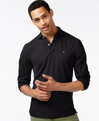 Tommy Hilfiger Men's Long Sleeve Classic Fit Polo Deep Knit Black