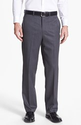 Men's Big And Tall Jb Britches Flat Front Worsted Wool Trousers Grey
