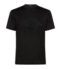 Versace Swarovski Embellished T Shirt Male Black