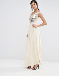 Little Mistress Maxi Dress With Sequin Body Cream Gold