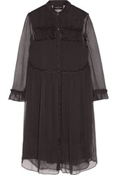 Needle And Thread Ruffle Trimmed Georgette Shirt Dress Black
