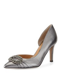 Kay Unger Baline Jeweled Half D'orsay Pump Pewter Silver
