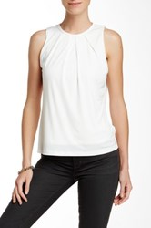 Fate Faux Leather Trim Crew Neck Tank White